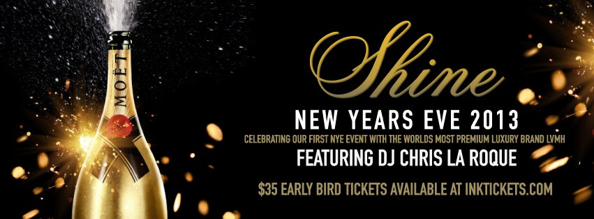 SHINE NYE 2013 featuring DJ TUDOR at CUBE | 3 AM Licence